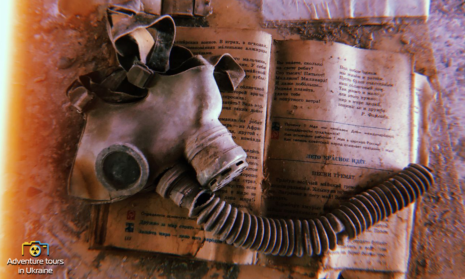 School in Pripyat, Ukraine. Gas mask